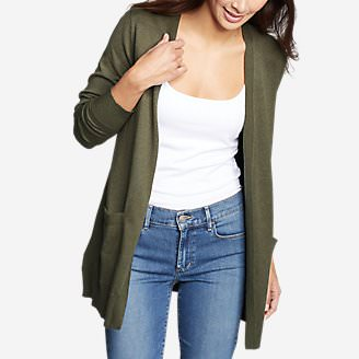 Women's Christine Tranquil Long-Sleeve Boyfriend Cardigan in Green