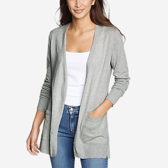 Women's Christine Tranquil Long-Sleeve Boyfriend Cardigan in Gray