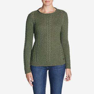 Women's Cable Fable Crew Sweater in Green