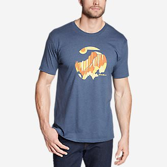 Men's Graphic T-Shirt - Linear Half Dome in Blue