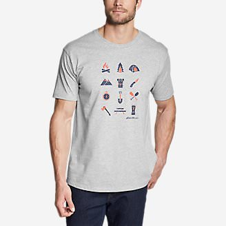 Men's Graphic T-Shirt - Camp Icon in Gray