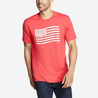 Men's Graphic T-Shirt - Flag Stamp in Red