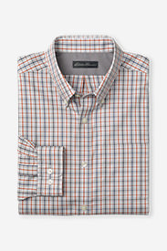 Men's Wrinkle-Free Relaxed Fit Pinpoint Oxford Shirt - Long-Sleeve Seasonal Pattern in Orange