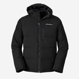 Men's Glacier Peak Seamless Stretch Down Hooded Jacket in Black