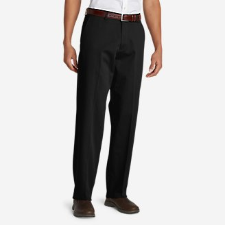 Men's Performance Dress Flat-Front Khaki Pants - Relaxed Fit in Black