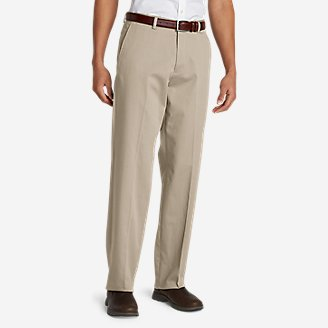 Men's Performance Dress Flat-Front Khaki Pants - Relaxed Fit in White
