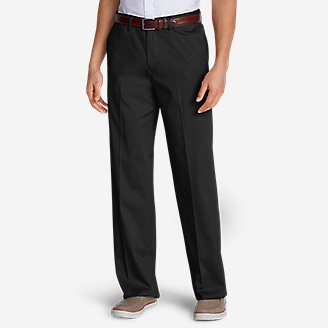 Men's Wrinkle-Free Relaxed Fit Comfort Waist Flat Front Performance Dress Khaki Pants in Black