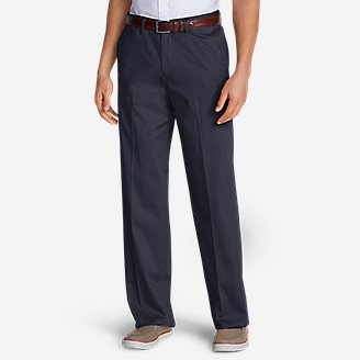 Men's Wrinkle-Free Relaxed Fit Comfort Waist Flat Front Performance Dress Khaki Pants in Blue