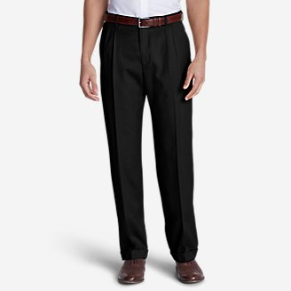 Men's Wool Gabardine Trousers - Pleated in Black