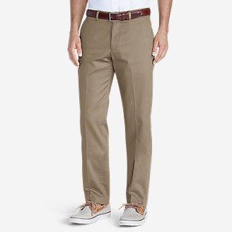 Men's Wrinkle-Free Slim Fit Flat-Front Performance Dress Khaki Pants in Beige