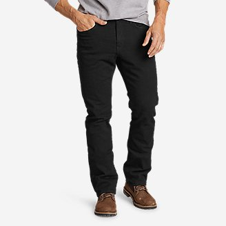 Men's Flannel-Lined Flex Jeans - Straight Fit in Black