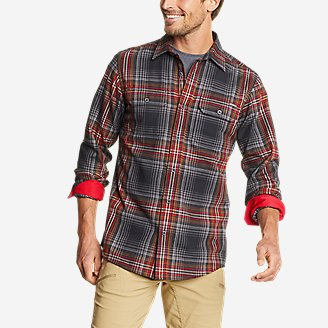 Men's Eddie Bauer Expedition Performance Flannel Shirt in Gray