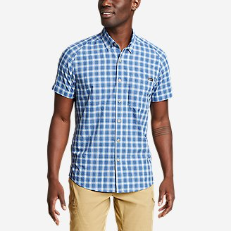 Men's Pack It Seersucker Short-Sleeve Shirt in Blue