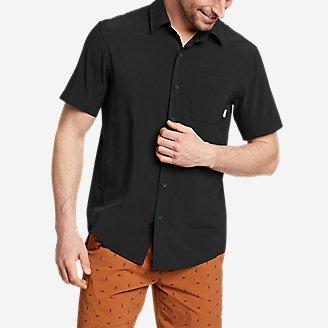 Men's Departure Perforated Short-Sleeve Shirt in Black