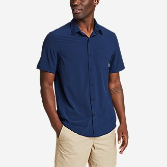 Men's Departure Perforated Short-Sleeve Shirt in Blue