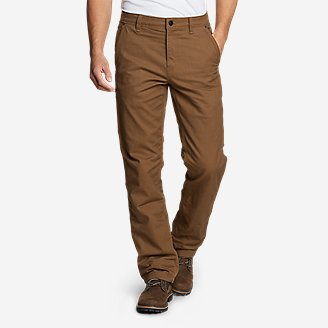Men's Snowcat Fleece-Lined Canvas Pants in Brown