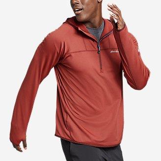 Men's High Route Grid Fleece 1/2-Zip Hoodie in Orange