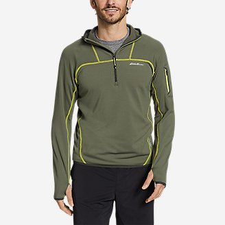 Men's High Route Grid Fleece 1/2-Zip Hoodie in Green