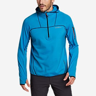 Men's High Route Grid Fleece 1/2-Zip Hoodie in Blue