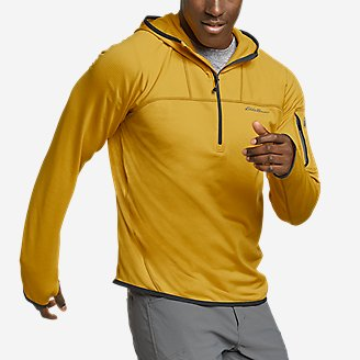 Men's High Route Grid Fleece 1/2-Zip Hoodie in Yellow