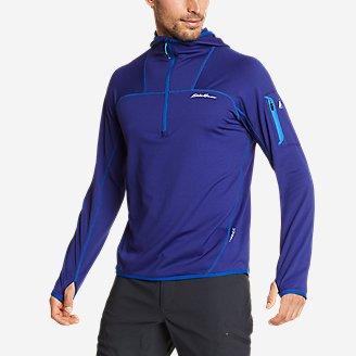 Men's High Route Grid Fleece 1/2-Zip Hoodie in Blue