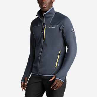Men's High Route Grid Fleece Full-Zip Mock-Neck in Blue