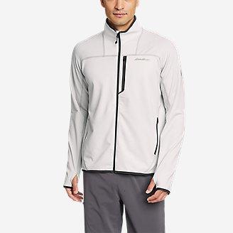 Men's High Route Grid Fleece Full-Zip Mock-Neck in Beige