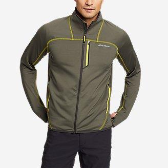 Men's High Route Grid Fleece Full-Zip Mock-Neck in Green