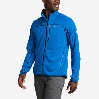 Men's High Route Grid Fleece Full-Zip Mock-Neck in Blue