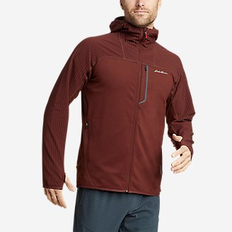 Men's High Route Grid Hybrid Full-Zip Hoodie in Brown