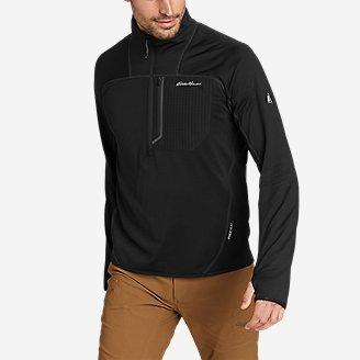 Men's High Route Grid Fleece 1/2-Zip Mock in Black