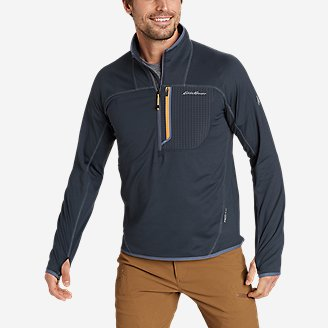 Men's High Route Grid Fleece 1/2-Zip Mock in Blue