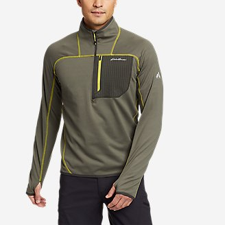 Men's High Route Grid Fleece 1/2-Zip Mock in Green