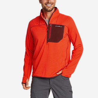 Men's High Route Grid Fleece 1/2-Zip Mock in Red