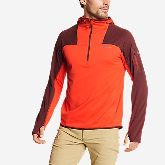 Men's High Route Grid Fleece 1/2-Zip - Colorblock in Red