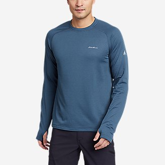 Men's High Route Grid Air Long-Sleeve Crew in Blue