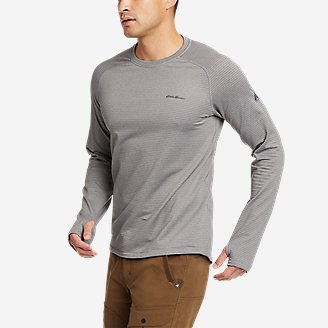 Men's High Route Grid Air Long-Sleeve Crew in Gray
