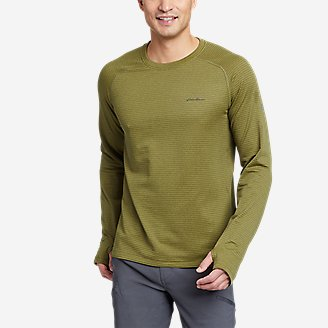 Men's High Route Grid Air Long-Sleeve Crew in Green
