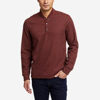 Men's Sherpa-Lined Thermal Henley in Brown