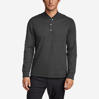 Men's Sherpa-Lined Thermal Henley in Gray