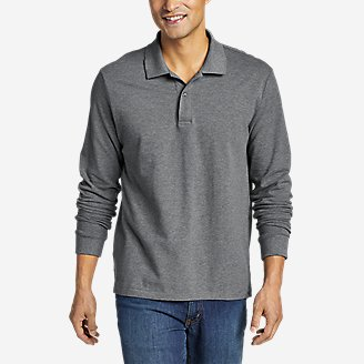 Men's Classic Field Pro Long-Sleeve Polo Shirt in Gray