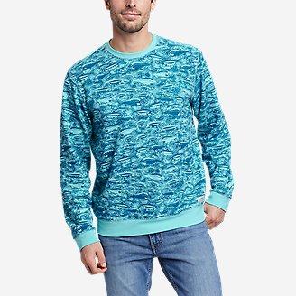 Men's Camp Fleece Crew Sweatshirt - Print in Blue