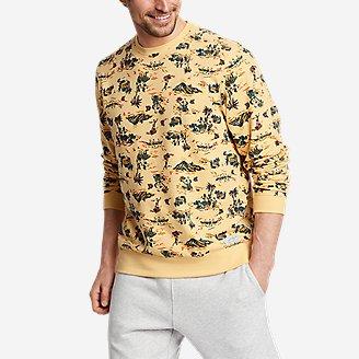 Men's Camp Fleece Crew Sweatshirt - Print in Yellow