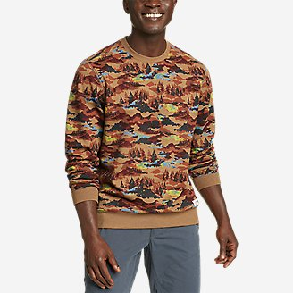 Men's Camp Fleece Crew Sweatshirt - Print in Beige