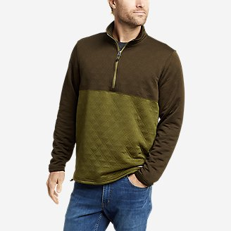 Men's Eddie Bauer Expedition Quilted 1/2-Zip in Green