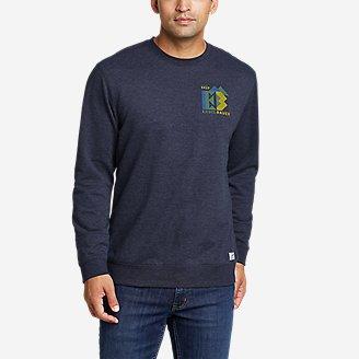 Men's Camp Fleece Graphic Crew Sweatshirt - Camo Logo in Blue