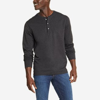 Men's Adventurer  Long-Sleeve Henley in Black