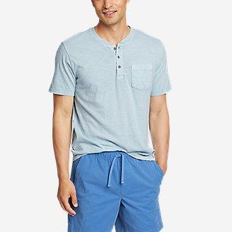 Men's Earth Wash Short-Sleeve Slub Henley in Blue