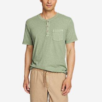 Men's Earth Wash Short-Sleeve Slub Henley in Green