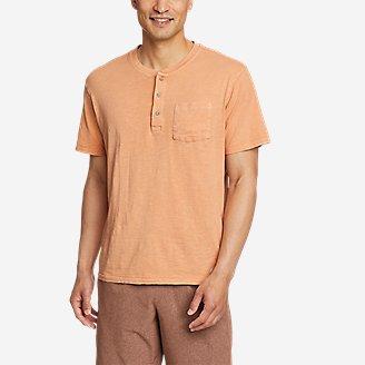 Men's Earth Wash Short-Sleeve Slub Henley in Orange